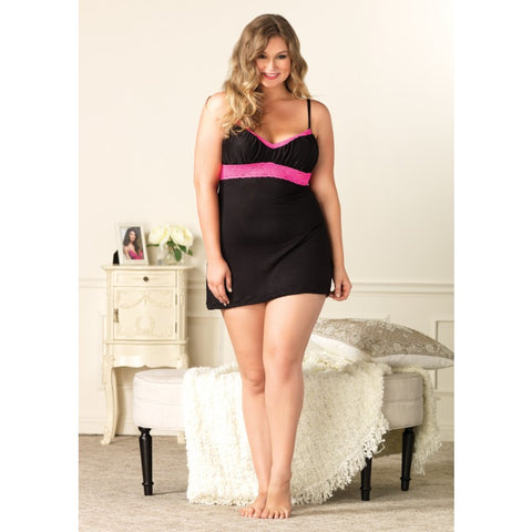 Plus Size Jersey and Pink Lace Empire Waist Nightie
