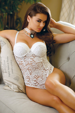 White Push Up Cup Lace Teddy