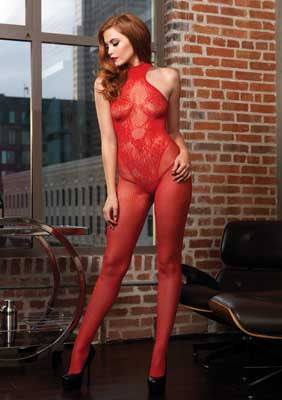 Fishnet Halter Floral Lace Bodystocking