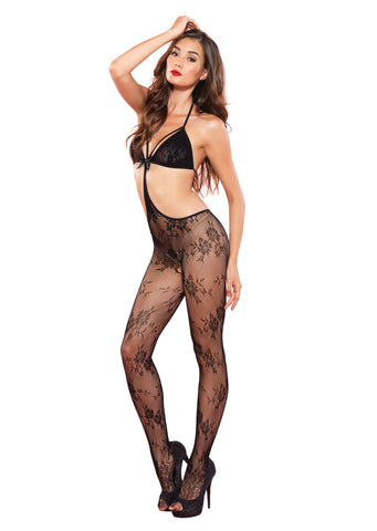 Black Floral Lace Strappy Bodystocking