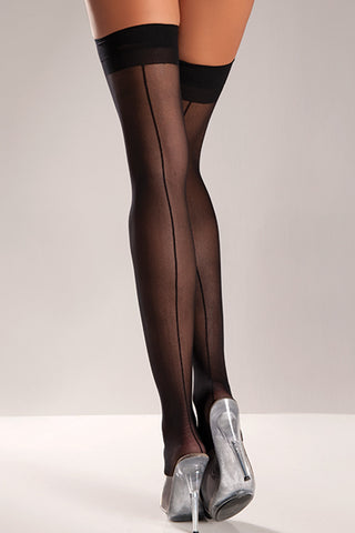 Sheer Thigh Hi Stockings with Back Seam