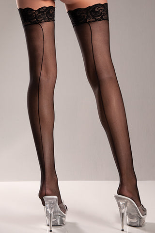 Sheer Lace Top Thigh Hi Stockings with Back Seam