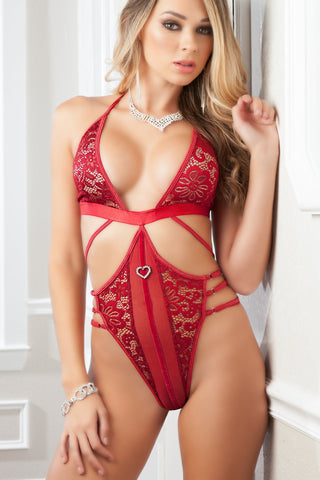 Red Velvet Plunge Front Strappy Teddy