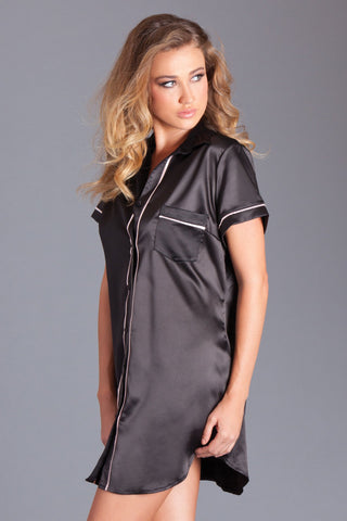 Black Satin Nightshirt