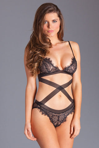 Black Eyelash Lace Criss Cross Lingerie