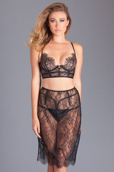 Black Eyelash Lace Bralette and Slip