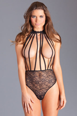 Crotchless Black Lace Halter Teddy
