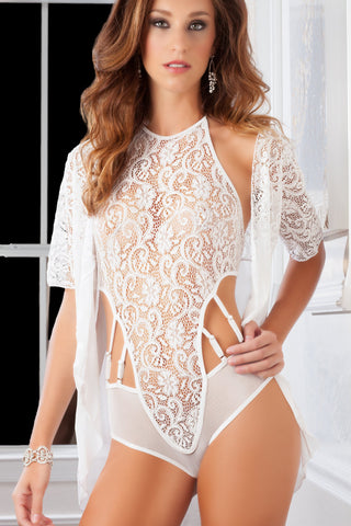 Pearl High Neck Lacy Teddy & Robe