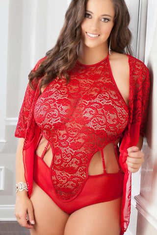 Plus Size Vermillion High Neck Lacy Teddy & Robe