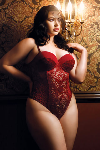 Plus Size Wine Red Push Up Cup Lace Teddy