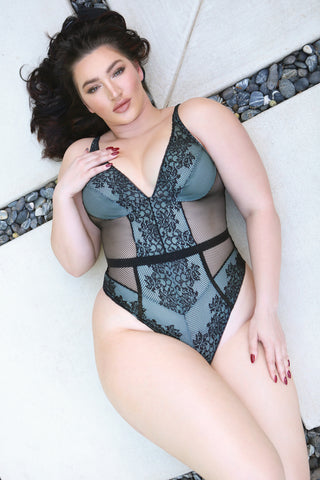 Plus Size Summer Rain Lace Teddy