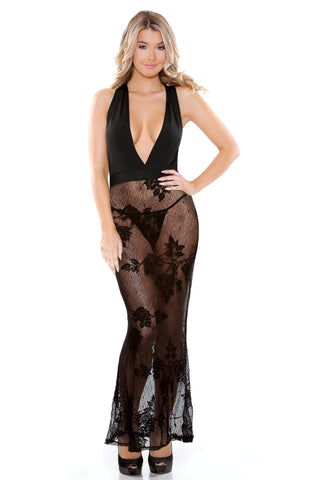 Black Micro and Lace Halter Dress with G-string