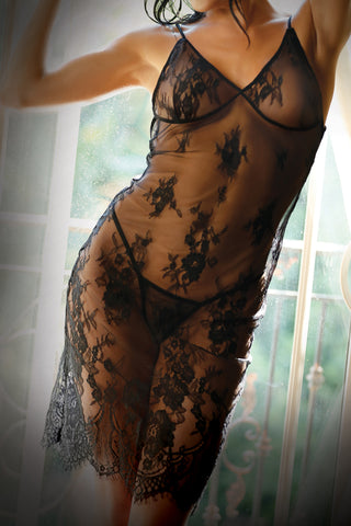 Forbidden Love Black Lace Slip Dress and G-string