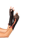 Black and Red Lace Up Fishnet Fingerless Gloves