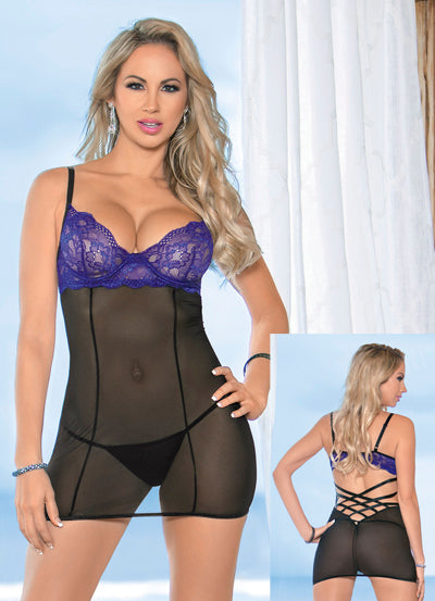 Black and Purple Criss Cross Back Chemise