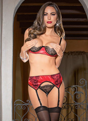 Satin and Lace Garterbelt Set