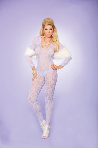 Queen Lilac Lace Long Sleeve Bodystocking