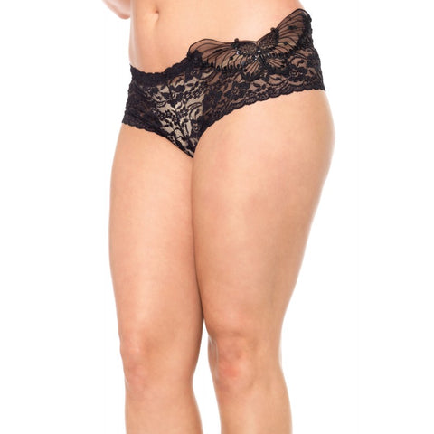 Black Plus Size Sequin Butterfly Lace Tanga