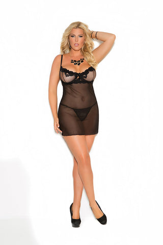 Plus Size Embroidered Mesh Babydoll