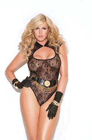 Queen Black Collared Lace Teddy
