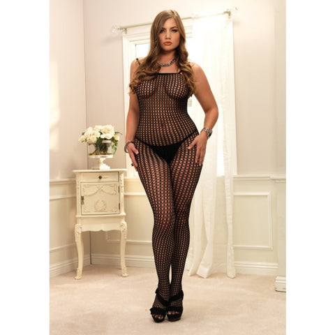 Plus Size Black Crochet Bodystocking
