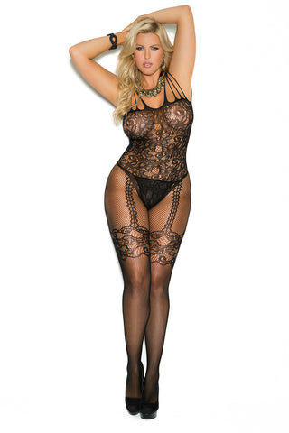 Queen Black Fishnet and Lace Bodystocking