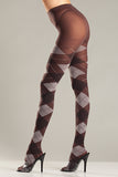 Plus Size Brown and Grey Argyle Tights