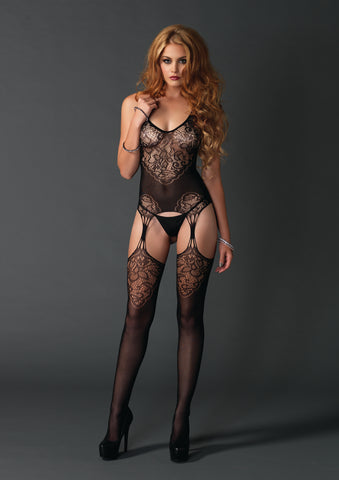 Black Seamless Lace Jacquard Bodystocking