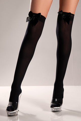 Plus Size Black Opaque Thigh Hi with Bow