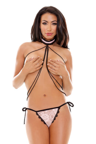 Scandalous Pearl Choker and Side Tie Panty Set