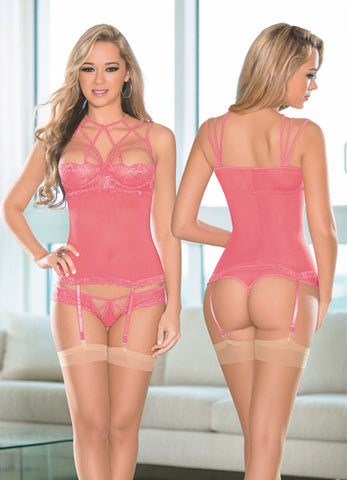 Coral Pink Strappy Neck Bustier Set