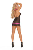 Black and Pink Mesh Halter Chemise