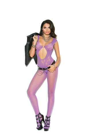 Purple Fishnet and Lace Bodystocking