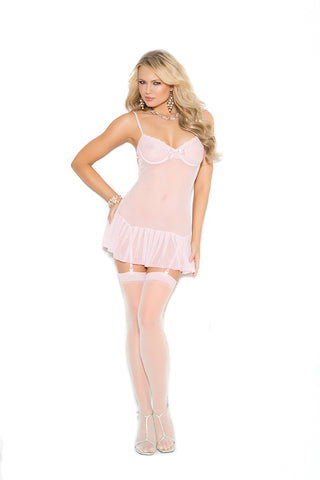 Embroidered Baby Pink Mesh Chemise