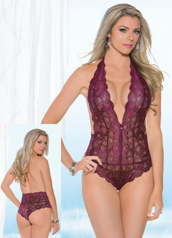Berry Lace Halter Tie Jeweled Teddy