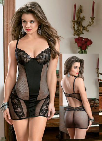 Black Lustful Lace and Mesh Chemise