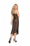 Black Assymetrical Sheer Lace Nightie