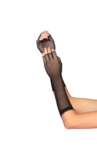 Black Elbow Length Micro Net Fingerless Gloves
