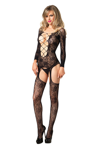 Seamless Floral Lace Long Sleeve Bodystocking