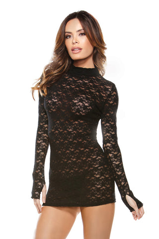 Black Collared Lace Dress with G-string