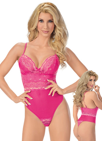 Racy Pink Lace and Mesh Teddy