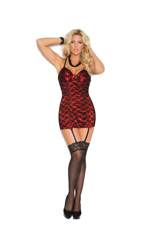 Plus Size Black and Red Satin Chemise