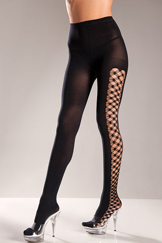 Plus Size Opaque Pantyhose with Multi Fence Net on Sides