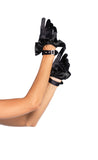 Black Cropped Ruffle Gloves