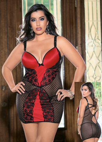 Red and Black Queen Push Up Bra Chemise