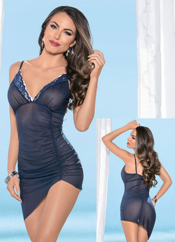 Navy and Ivory Rouched Side Dress and G-String