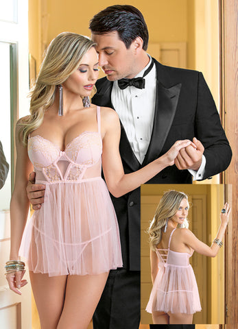 Pink and Gold Fairytale Tulle and Lace Babydoll