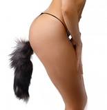 Black and White Fox Tail Anal Plug