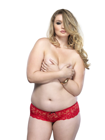 Plus Size Stretch Lace Open Crotch Thong