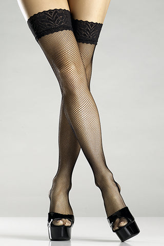 Black Fishnet Lace Top Thigh Hi Stockings